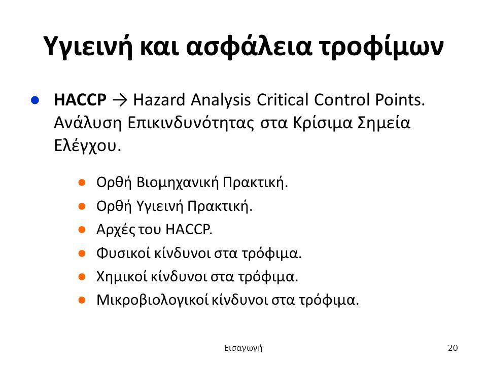 Υγιεινή και ασφάλεια τροφίμων ●HACCP → Hazard Analysis Critical Control Points.