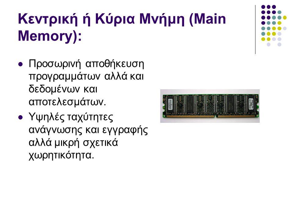 Κεντρική ή Κύρια Μνήμη (Main Memory): Προσωρινή αποθήκευση προγραμμάτων αλλά και δεδομένων και αποτελεσμάτων.