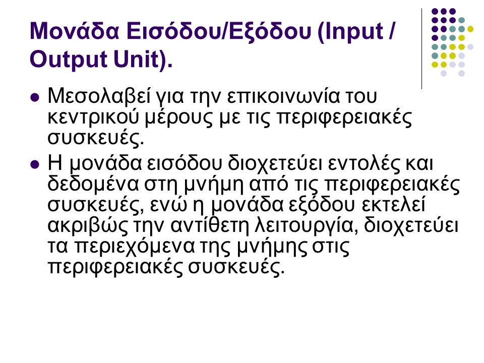 Μονάδα Εισόδου/Εξόδου (Input / Output Unit).