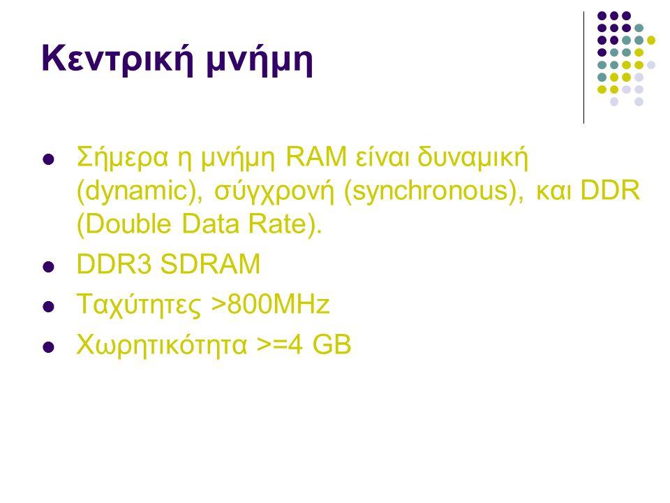 Κεντρική μνήμη Σήμερα η μνήμη RAM είναι δυναμική (dynamic), σύγχρονή (synchronous), και DDR (Double Data Rate).