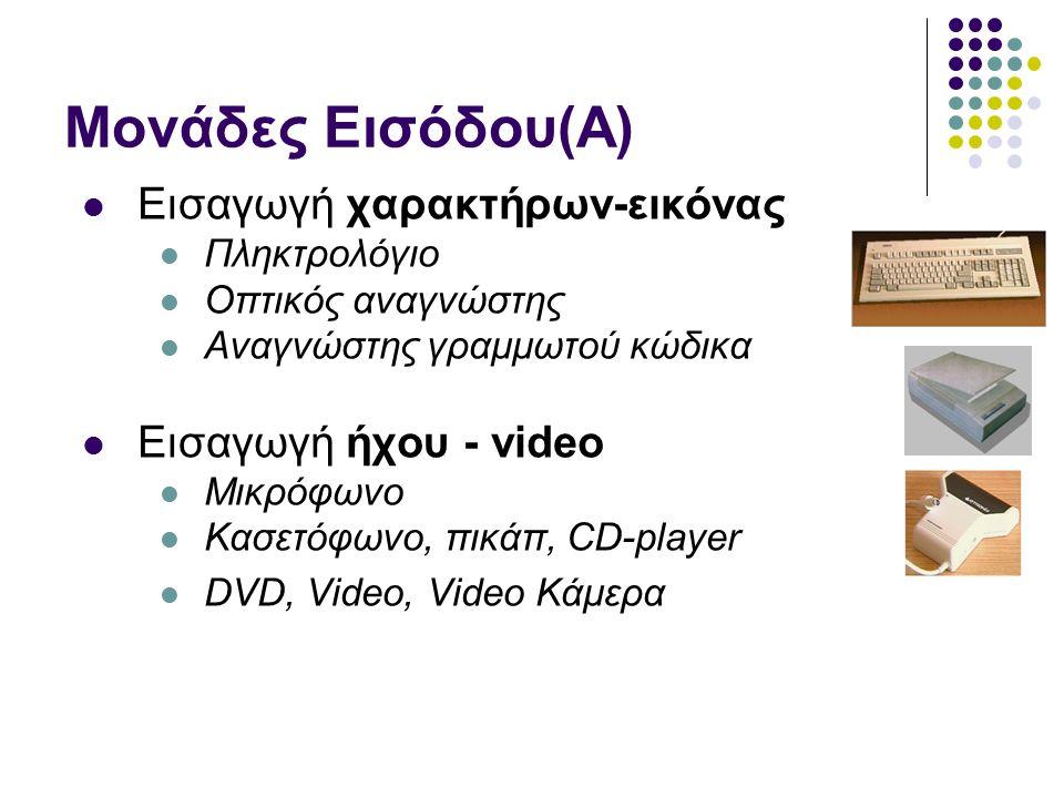 Μονάδες Εισόδου(Α) Εισαγωγή χαρακτήρων-εικόνας Πληκτρολόγιο Οπτικός αναγνώστης Αναγνώστης γραμμωτού κώδικα Εισαγωγή ήχου - video Μικρόφωνο Κασετόφωνο, πικάπ, CD-player DVD, Video, Video Κάμερα
