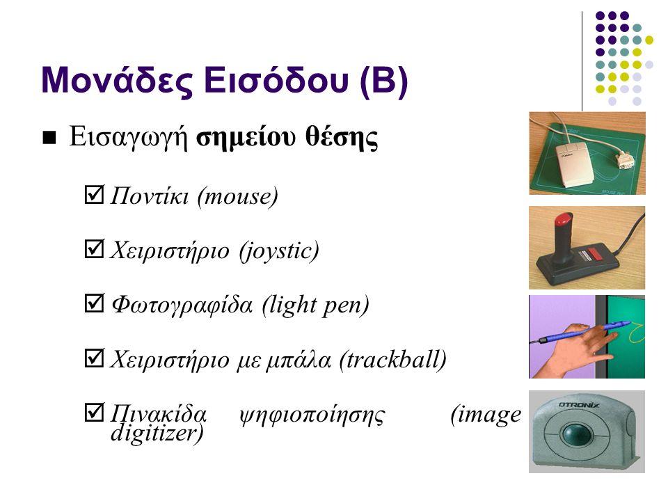 Μονάδες Εισόδου (B) Εισαγωγή σημείου θέσης  Ποντίκι (mouse)  Χειριστήριο (joystic)  Φωτογραφίδα (light pen)  Χειριστήριο με μπάλα (trackball)  Πινακίδα ψηφιοποίησης (image digitizer)