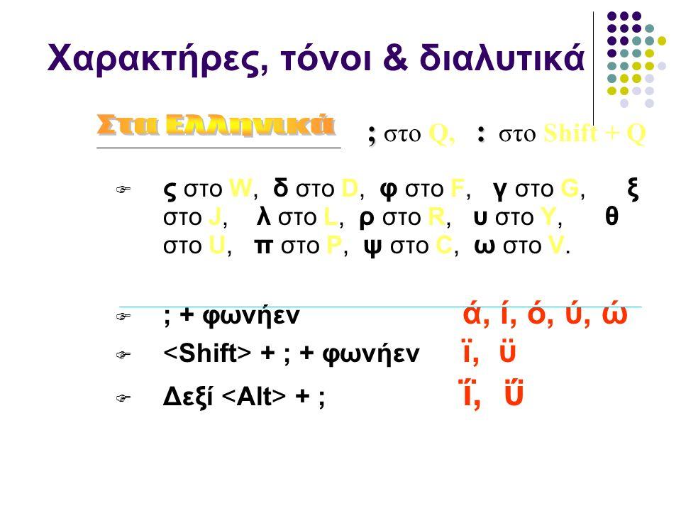 Χαρακτήρες, τόνοι & διαλυτικά  ς στο W, δ στο D, φ στο F, γ στο G, ξ στο J, λ στο L, ρ στο R, υ στο Υ, θ στο U, π στο P, ψ στο C, ω στο V.