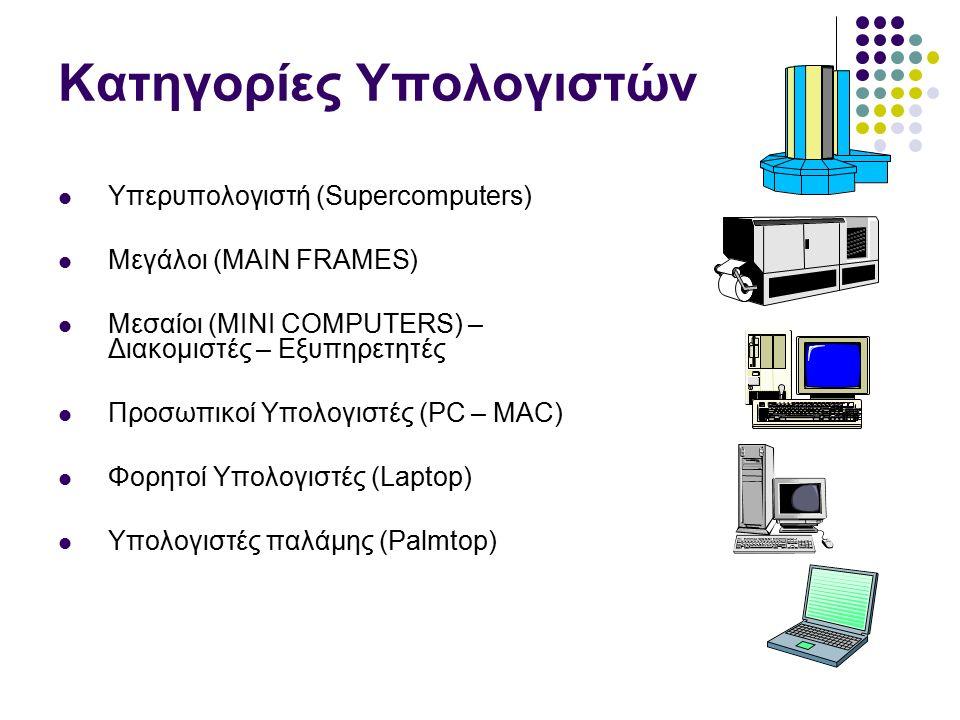 Κατηγορίες Υπολογιστών Υπερυπολογιστή (Supercomputers) Μεγάλοι (MAIN FRAMES) Μεσαίοι (MINI COMPUTERS) – Διακομιστές – Εξυπηρετητές Προσωπικοί Υπολογιστές (PC – MAC) Φορητοί Υπολογιστές (Laptop) Υπολογιστές παλάμης (Palmtop)