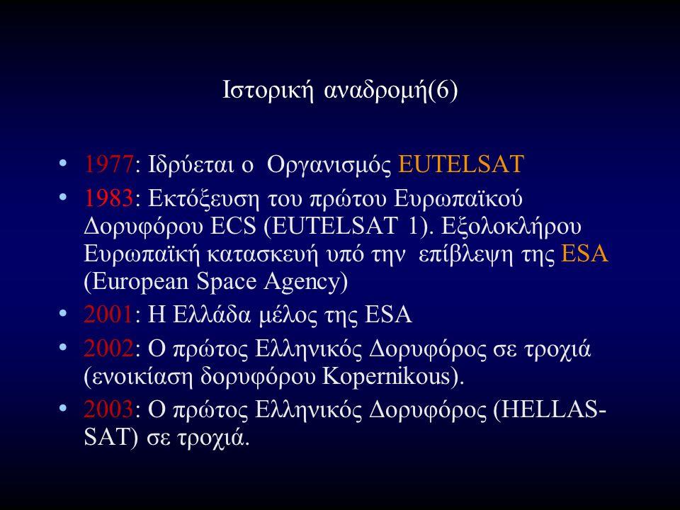 Ιστορική αναδρομή(6) 1977: Ιδρύεται ο Οργανισμός EUTELSAT 1983: Εκτόξευση του πρώτου Ευρωπαϊκού Δορυφόρου ECS (EUTELSAT 1).
