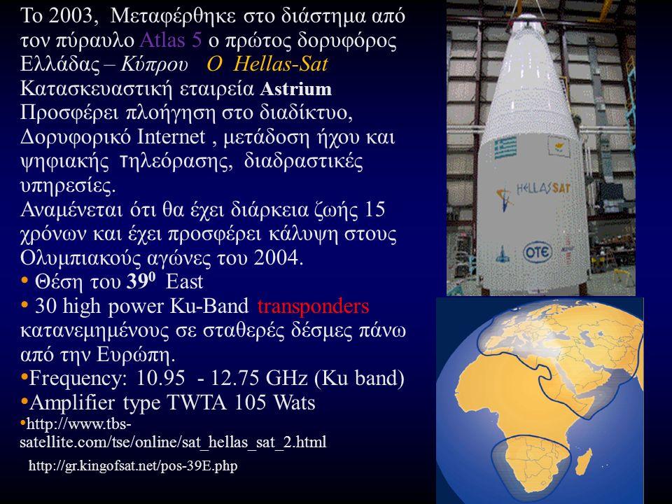 To 2003, Μεταφέρθηκε στο διάστημα από τον πύραυλο Atlas 5 ο πρώτος δορυφόρος Ελλάδας – Κύπρου O Hellas-Sat Κατασκευαστική εταιρεία Astrium Προσφέρει πλοήγηση στο διαδίκτυο, Δορυφορικό Internet, μετάδοση ήχου και ψηφιακής τ ηλεόρασης, διαδραστικές υπηρεσίες.