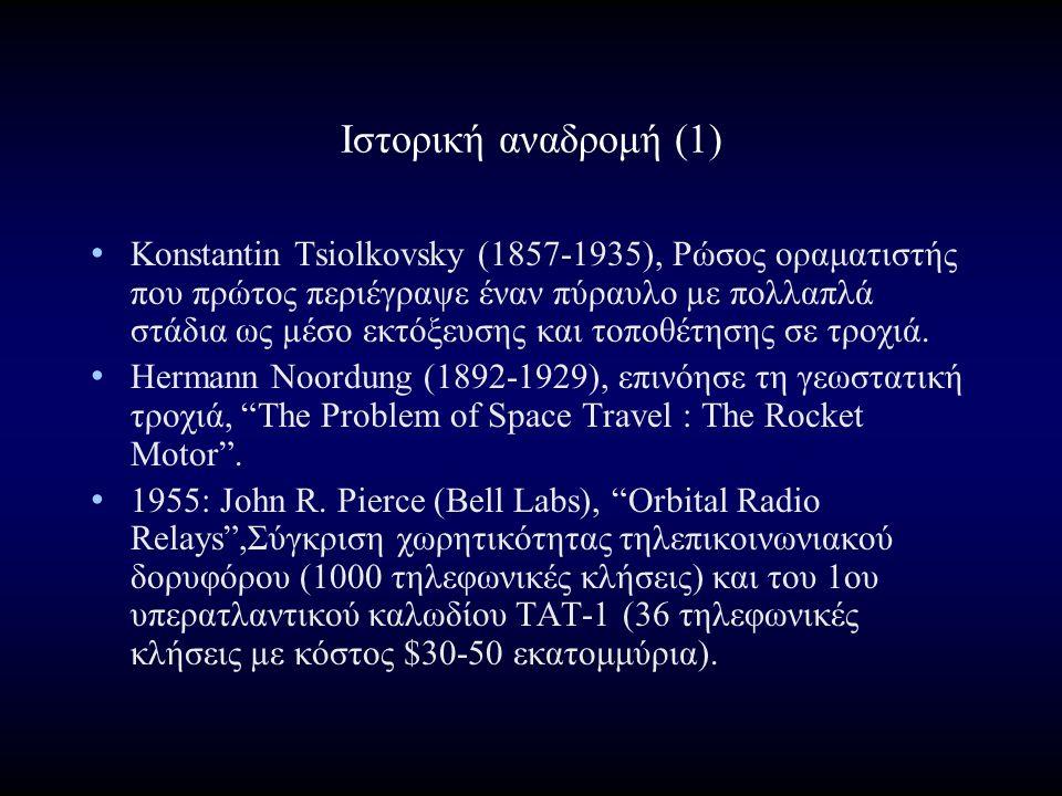 Ιστορική αναδρομή (1) Konstantin Tsiolkovsky (1857-1935), Ρώσος οραματιστής που πρώτος περιέγραψε έναν πύραυλο µε πολλαπλά στάδια ως µέσο εκτόξευσης και τοποθέτησης σε τροχιά.