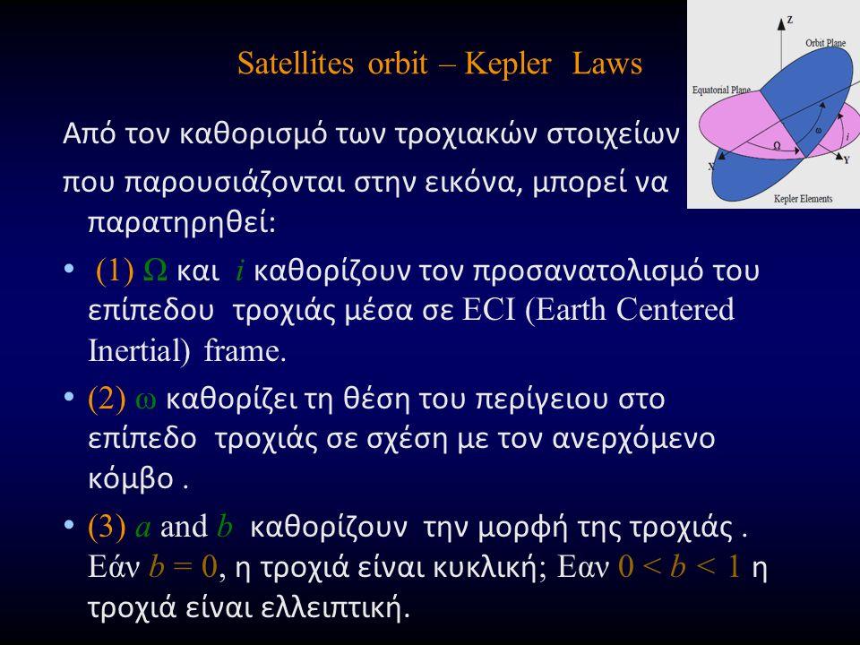 Satellites orbit – Kepler Laws Από τον καθορισμό των τροχιακών στοιχείων που παρουσιάζονται στην εικόνα, μπορεί να παρατηρηθεί: (1) Ω και i καθορίζουν τον προσανατολισμό του επίπεδου τροχιάς μέσα σε ECI (Earth Centered Inertial) frame.