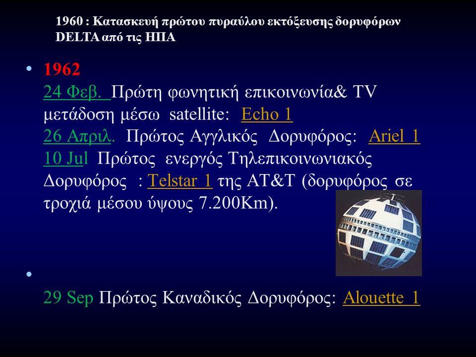 1962 24 Φεβ. Πρώτη φωνητική επικοινωνία& TV μετάδοση μέσω satellite: Echo 1 26 Απριλ. Πρώτος Αγγλικός Δορυφόρος: Ariel 1 10 Jul Πρώτος ενεργός Τηλεπικ