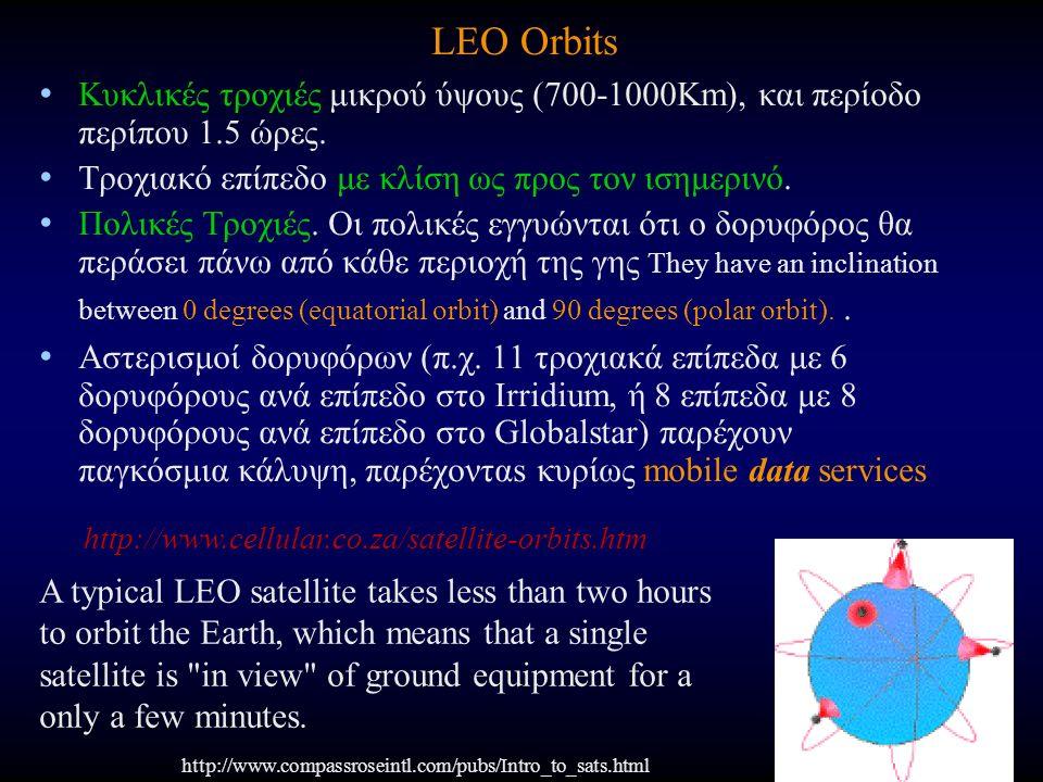 LEO Orbits Κυκλικές τροχιές μικρού ύψους (700-1000Km), και περίοδο περίπου 1.5 ώρες. Τροχιακό επίπεδο με κλίση ως προς τον ισημερινό. Πολικές Τροχιές.