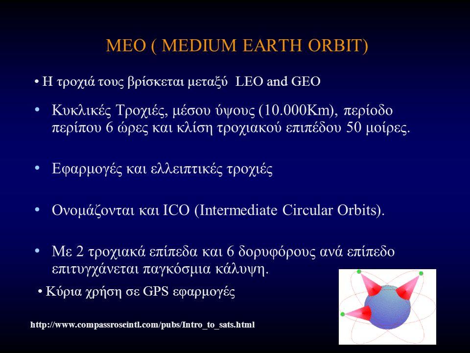 MEO ( MEDIUM EARTH ORBIT) Κυκλικές Τροχιές, μέσου ύψους (10.000Km), περίοδο περίπου 6 ώρες και κλίση τροχιακού επιπέδου 50 μοίρες. Εφαρμογές και ελλει