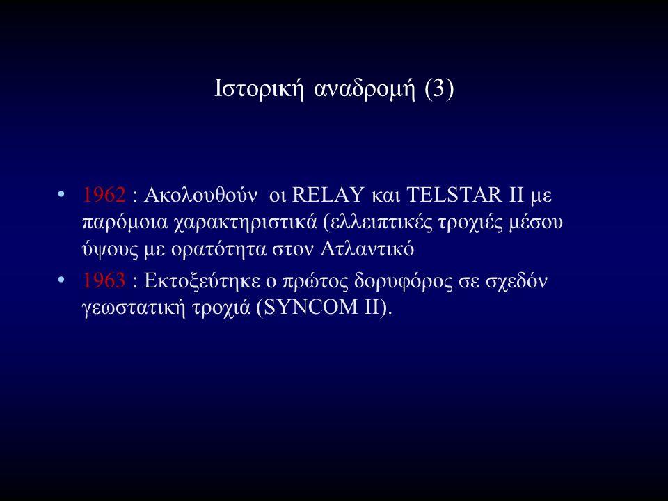 Ιστορική αναδρομή (3) 1962 : Ακολουθούν οι RELAY και TELSTAR II µε παρόμοια χαρακτηριστικά (ελλειπτικές τροχιές μέσου ύψους µε ορατότητα στον Ατλαντικό 1963 : Εκτοξεύτηκε ο πρώτος δορυφόρος σε σχεδόν γεωστατική τροχιά (SYNCOM II).