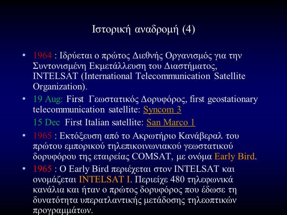 Ιστορική αναδρομή (4) 1964 : Ιδρύεται ο πρώτος Διεθνής Οργανισμός για την Συντονισμένη Εκμετάλλευση του Διαστήματος, INTELSAT (International Telecommunication Satellite Organization).