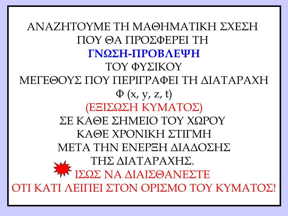 ΑΝΑΖΗΤΟΥΜΕ ΤΗ ΜΑΘΗΜΑΤΙΚΗ ΣΧΕΣΗ ΠΟΥ ΘΑ ΠΡΟΣΦΕΡΕΙ ΤΗ ΓΝΩΣΗ-ΠΡΟΒΛΕΨΗ ΤΟΥ ΦΥΣΙΚΟΥ ΜΕΓΕΘΟΥΣ ΠΟΥ ΠΕΡΙΓΡΑΦΕΙ ΤΗ ΔΙΑΤΑΡΑΧΗ Φ (x, y, z, t) (ΕΞΙΣΩΣΗ ΚΥΜΑΤΟΣ) ΣΕ ΚΑΘΕ ΣΗΜΕΙΟ ΤΟΥ ΧΩΡΟΥ ΚΑΘΕ ΧΡΟΝΙΚΗ ΣΤΙΓΜΗ ΜΕΤΑ ΤΗΝ ΕΝΕΡΞΗ ΔΙΑΔΟΣΗΣ ΤΗΣ ΔΙΑΤΑΡΑΧΗΣ.