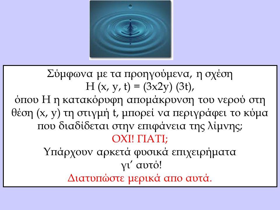 Σύμφωνα με τα προηγούμενα, η σχέση Η (x, y, t) = (3x2y) (3t), όπου H η κατακόρυφη απομάκρυνση του νερού στη θέση (x, y) τη στιγμή t, μπορεί να περιγράφει το κύμα που διαδίδεται στην επιφάνεια της λίμνης; ΟΧΙ.