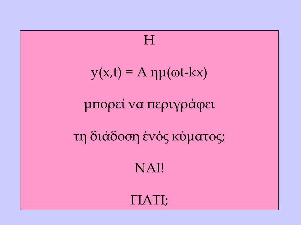 Η y(x,t) = A ημ(ωt-kx) μπορεί να περιγράφει τη διάδοση ένός κύματος; ΝΑΙ! ΓΙΑΤΙ;