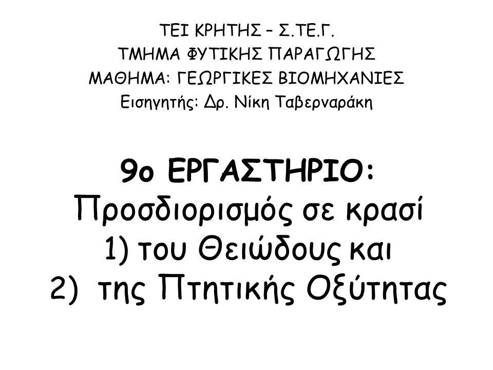 Ογκομετρήσεις – Τιτλοδοτήσεις: 1 η Ογκομέτρηση: Το απόσταγμα μεταφέρεται σε κωνική φιάλη 500 ml + 5 σταγόνες δ.