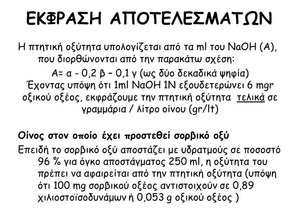 Η πτητική οξύτητα υπολογίζεται από τα ml του NaOH (Α), που διορθώνονται από την παρακάτω σχέση: Α= α - 0,2 β – 0,1 γ (ως δύο δεκαδικά ψηφία) Έχοντας υπόψη ότι 1ml ΝαΟΗ 1Ν εξουδετερώνει 6 mgr οξικού οξέος, εκφράζουμε την πτητική οξύτητα τελικά σε γραμμάρια / λίτρο οίνου (gr/lt) Οίνος στον οποίο έχει προστεθεί σορβικό οξύ Επειδή το σορβικό οξύ αποστάζει με υδρατμούς σε ποσοστό 96 % για όγκο αποστάγματος 250 ml, η οξύτητα του πρέπει να αφαιρείται από την πτητική οξύτητα (υπόψη ότι 100 mg σορβικού οξέος αντιστοιχούν σε 0,89 χιλιοστοϊσοδυνάμων ή 0,053 g οξικού οξέος ) ΕΚΦΡΑΣΗ ΑΠΟΤΕΛΕΣΜΑΤΩΝ