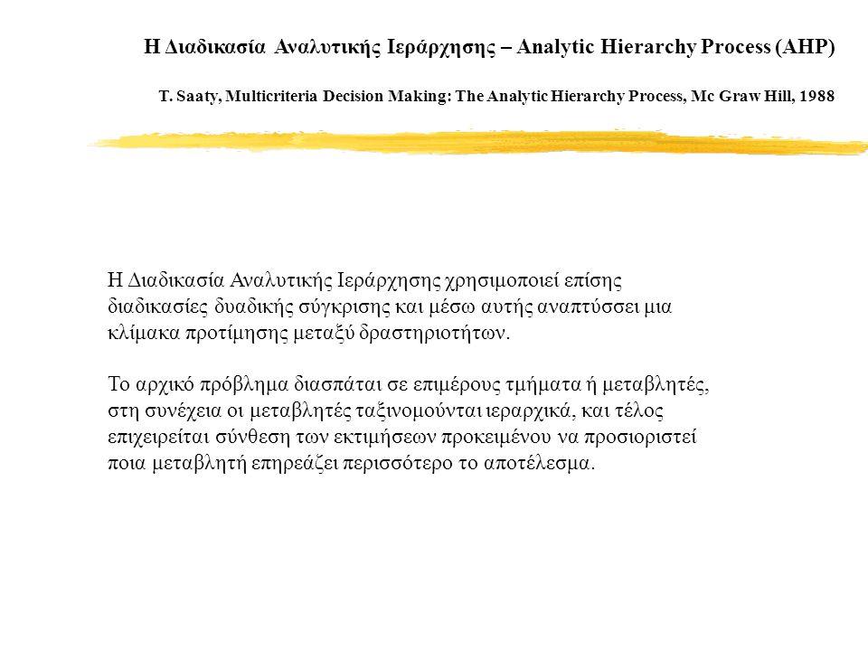 Η Διαδικασία Αναλυτικής Ιεράρχησης – Analytic Hierarchy Process (AHP) T.