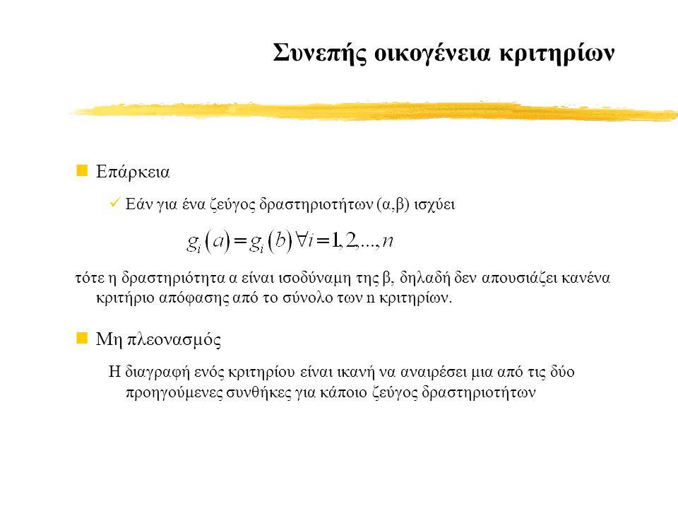 Συνεπής οικογένεια κριτηρίων Επάρκεια Εάν για ένα ζεύγος δραστηριοτήτων (α,β) ισχύει τότε η δραστηριότητα α είναι ισοδύναμη της β, δηλαδή δεν απουσιάζει κανένα κριτήριο απόφασης από το σύνολο των n κριτηρίων.