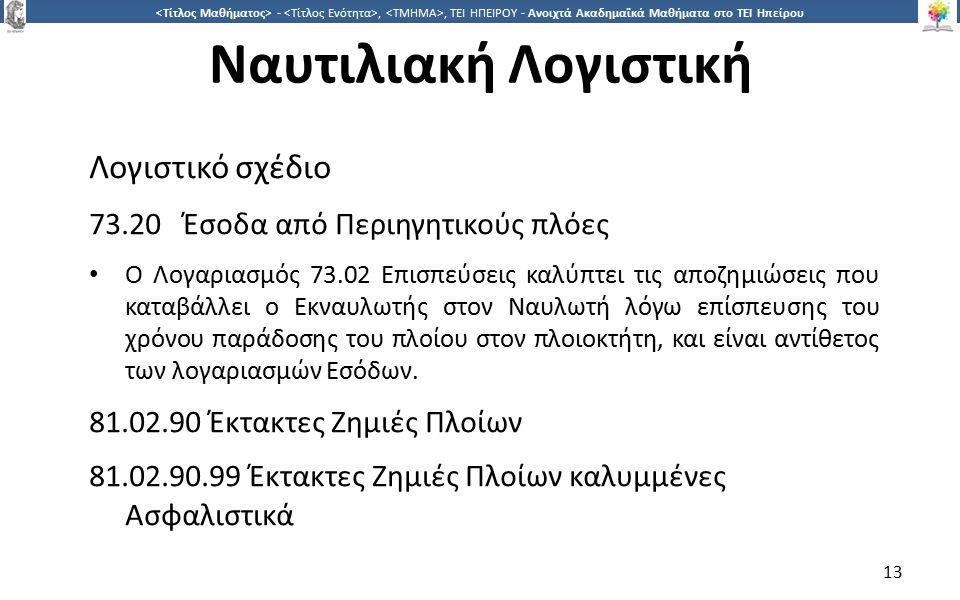 1313 -,, ΤΕΙ ΗΠΕΙΡΟΥ - Ανοιχτά Ακαδημαϊκά Μαθήματα στο ΤΕΙ Ηπείρου Ναυτιλιακή Λογιστική Λογιστικό σχέδιο 73.20 Έσοδα από Περιηγητικούς πλόες Ο Λογαριασμός 73.02 Επισπεύσεις καλύπτει τις αποζημιώσεις που καταβάλλει ο Εκναυλωτής στον Ναυλωτή λόγω επίσπευσης του χρόνου παράδοσης του πλοίου στον πλοιοκτήτη, και είναι αντίθετος των λογαριασμών Εσόδων.