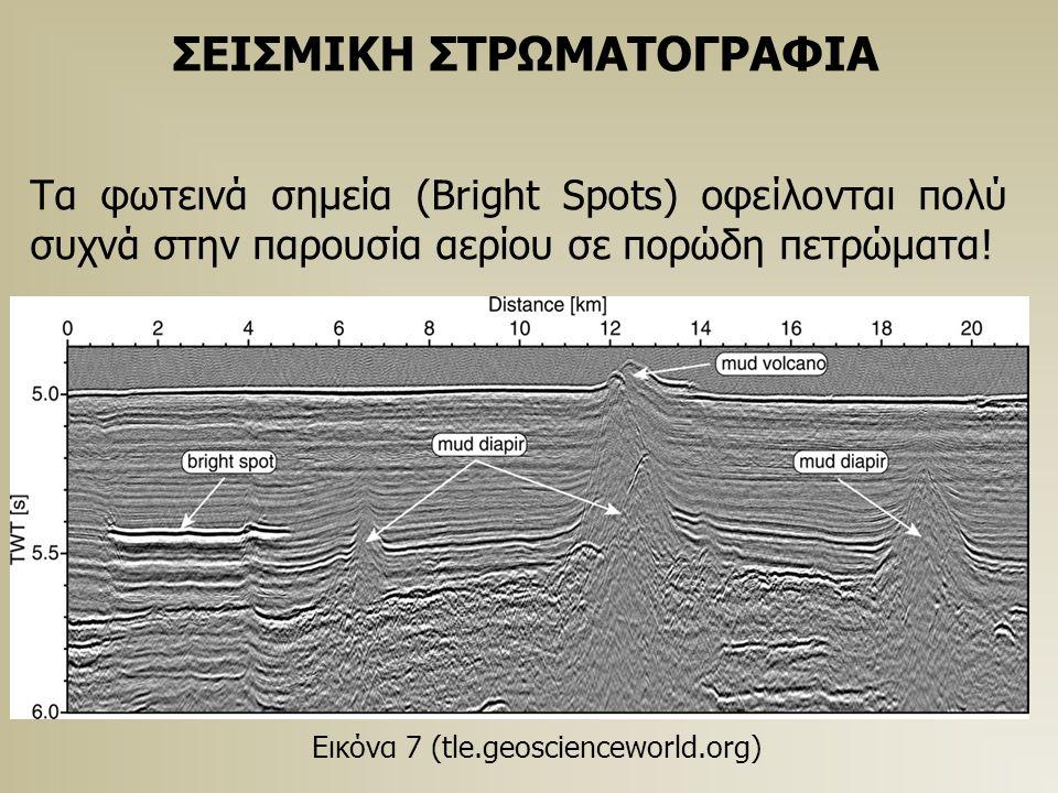 ΣΕΙΣΜΙΚΗ ΣΤΡΩΜΑΤΟΓΡΑΦΙΑ Τα φωτεινά σημεία (Bright Spots) οφείλονται πολύ συχνά στην παρουσία αερίου σε πορώδη πετρώματα! Εικόνα 7 (tle.geoscienceworld
