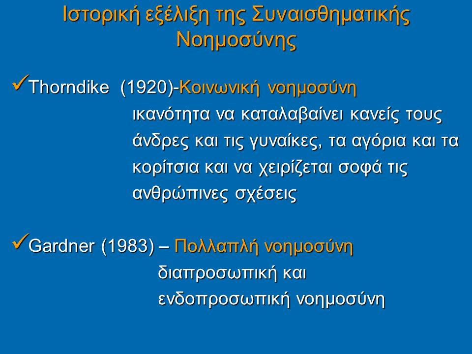 Ιστορική εξέλιξη της Συναισθηματικής Νοημοσύνης Thorndike (1920)-Κοινωνική νοημοσύνη Thorndike (1920)-Κοινωνική νοημοσύνη ικανότητα να καταλαβαίνει κανείς τους ικανότητα να καταλαβαίνει κανείς τους άνδρες και τις γυναίκες, τα αγόρια και τα άνδρες και τις γυναίκες, τα αγόρια και τα κορίτσια και να χειρίζεται σοφά τις κορίτσια και να χειρίζεται σοφά τις ανθρώπινες σχέσεις ανθρώπινες σχέσεις Gardner (1983) – Πολλαπλή νοημοσύνη Gardner (1983) – Πολλαπλή νοημοσύνη διαπροσωπική και διαπροσωπική και ενδοπροσωπική νοημοσύνη ενδοπροσωπική νοημοσύνη