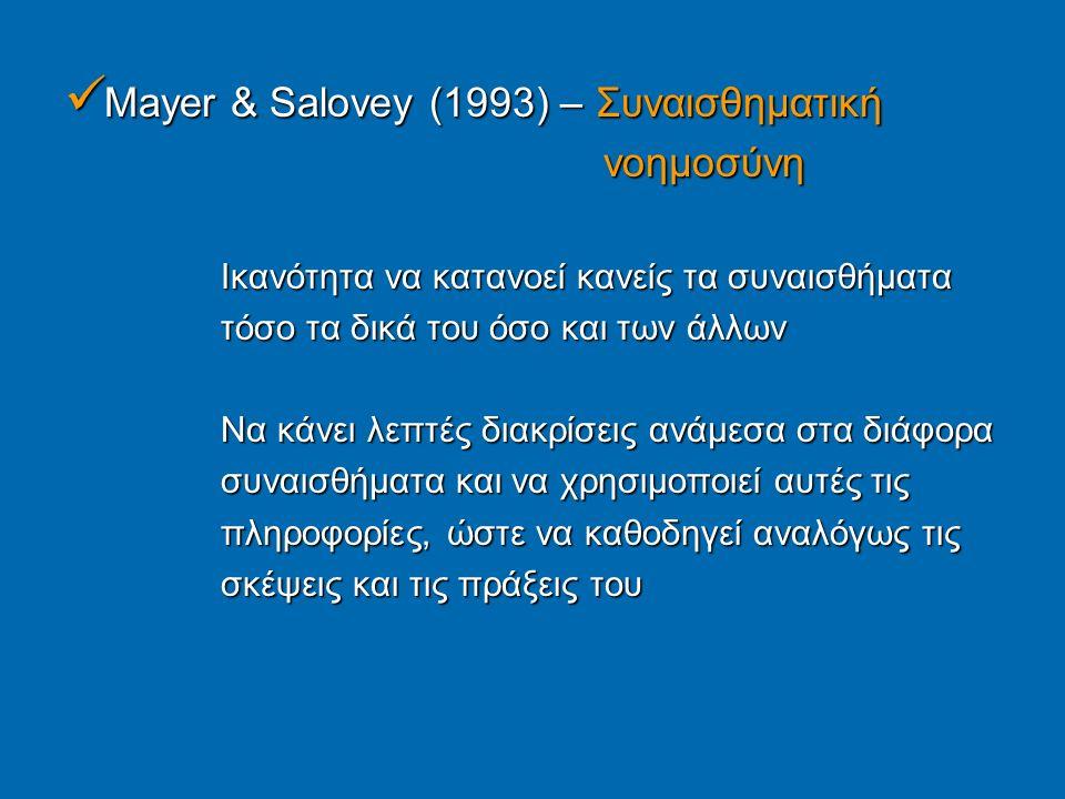 Mayer & Salovey (1993) – Συναισθηματική Mayer & Salovey (1993) – Συναισθηματική νοημοσύνη νοημοσύνη Ικανότητα να κατανοεί κανείς τα συναισθήματα Ικανότητα να κατανοεί κανείς τα συναισθήματα τόσο τα δικά του όσο και των άλλων τόσο τα δικά του όσο και των άλλων Να κάνει λεπτές διακρίσεις ανάμεσα στα διάφορα Να κάνει λεπτές διακρίσεις ανάμεσα στα διάφορα συναισθήματα και να χρησιμοποιεί αυτές τις συναισθήματα και να χρησιμοποιεί αυτές τις πληροφορίες, ώστε να καθοδηγεί αναλόγως τις πληροφορίες, ώστε να καθοδηγεί αναλόγως τις σκέψεις και τις πράξεις του σκέψεις και τις πράξεις του