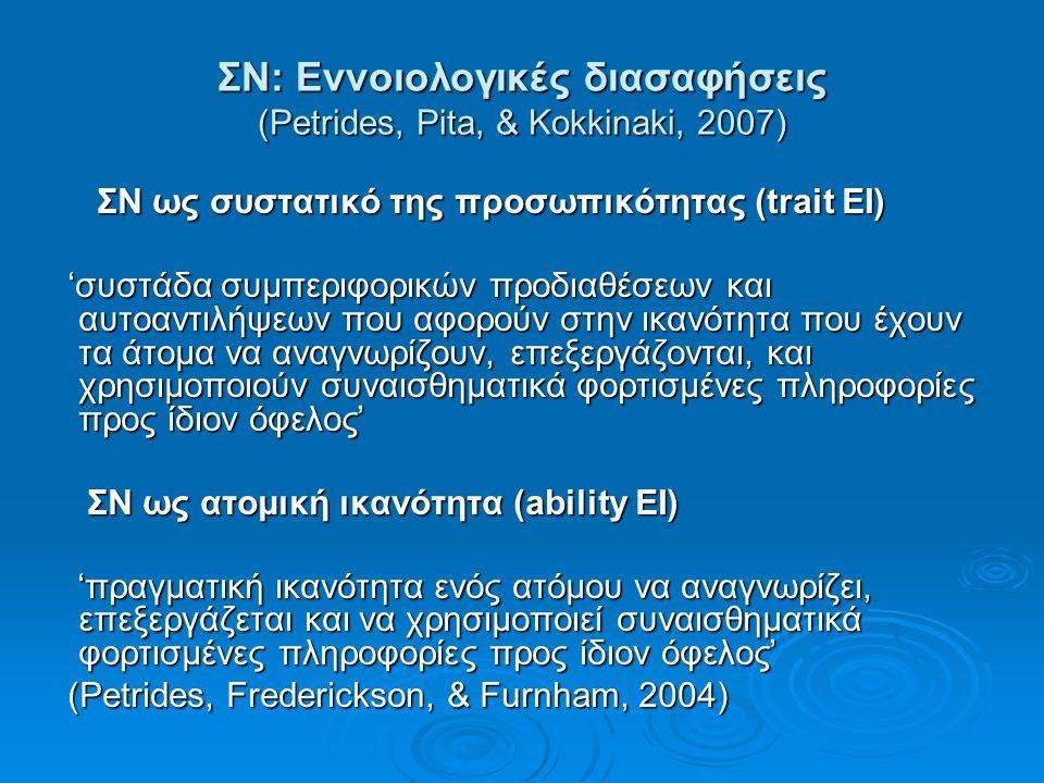ΣΝ: Εννοιολογικές διασαφήσεις (Petrides, Pita, & Kokkinaki, 2007) ΣΝ ως συστατικό της προσωπικότητας (trait EI) ΣΝ ως συστατικό της προσωπικότητας (trait EI) 'συστάδα συμπεριφορικών προδιαθέσεων και αυτοαντιλήψεων που αφορούν στην ικανότητα που έχουν τα άτομα να αναγνωρίζουν, επεξεργάζονται, και χρησιμοποιούν συναισθηματικά φορτισμένες πληροφορίες προς ίδιον όφελος' 'συστάδα συμπεριφορικών προδιαθέσεων και αυτοαντιλήψεων που αφορούν στην ικανότητα που έχουν τα άτομα να αναγνωρίζουν, επεξεργάζονται, και χρησιμοποιούν συναισθηματικά φορτισμένες πληροφορίες προς ίδιον όφελος' ΣΝ ως ατομική ικανότητα (ability EI) ΣΝ ως ατομική ικανότητα (ability EI) 'πραγματική ικανότητα ενός ατόμου να αναγνωρίζει, επεξεργάζεται και να χρησιμοποιεί συναισθηματικά φορτισμένες πληροφορίες προς ίδιον όφελος' 'πραγματική ικανότητα ενός ατόμου να αναγνωρίζει, επεξεργάζεται και να χρησιμοποιεί συναισθηματικά φορτισμένες πληροφορίες προς ίδιον όφελος' (Petrides, Frederickson, & Furnham, 2004) (Petrides, Frederickson, & Furnham, 2004)