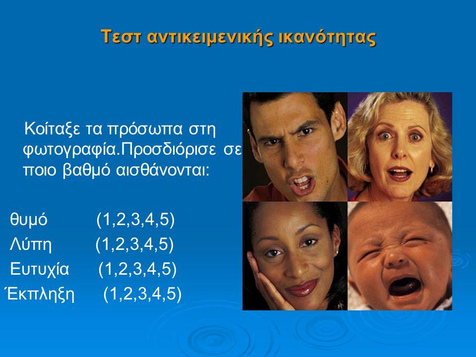 Τεστ αντικειμενικής ικανότητας Κοίταξε τα πρόσωπα στη φωτογραφία.Προσδιόρισε σε ποιο βαθμό αισθάνονται: θυμό (1,2,3,4,5) Λύπη (1,2,3,4,5) Ευτυχία (1,2,3,4,5) Έκπληξη (1,2,3,4,5)