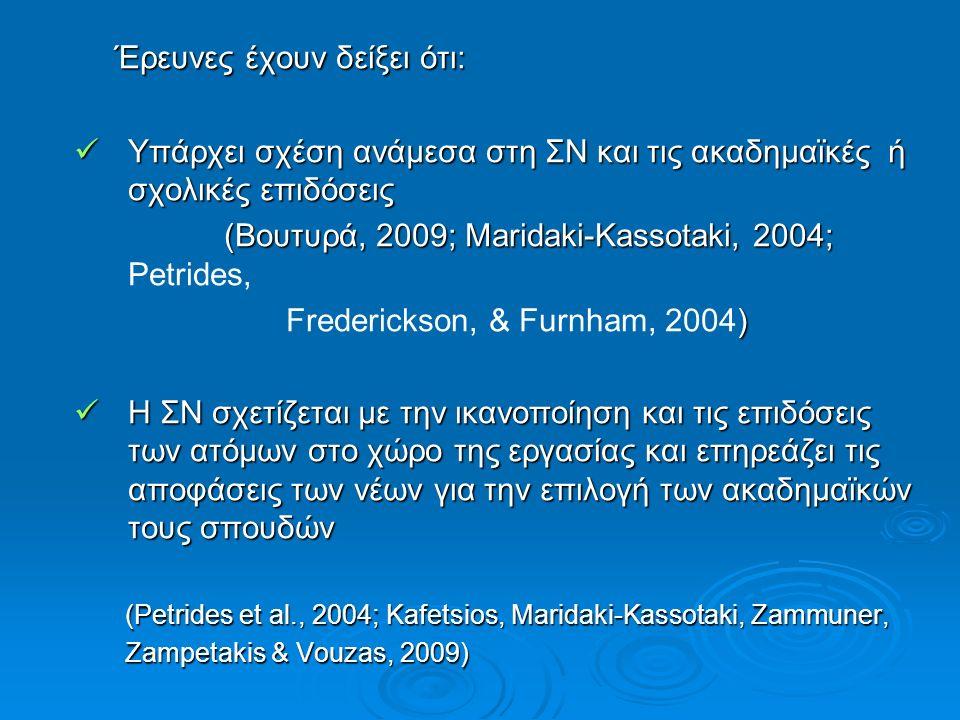 Έρευνες έχουν δείξει ότι: Έρευνες έχουν δείξει ότι: Υπάρχει σχέση ανάμεσα στη ΣΝ και τις ακαδημαϊκές ή σχολικές επιδόσεις Υπάρχει σχέση ανάμεσα στη ΣΝ και τις ακαδημαϊκές ή σχολικές επιδόσεις (Βουτυρά, 2009; Maridaki-Kassotaki, 2004; (Βουτυρά, 2009; Maridaki-Kassotaki, 2004; Petrides, ) Frederickson, & Furnham, 2004) Η ΣΝ σχετίζεται με την ικανοποίηση και τις επιδόσεις των ατόμων στο χώρο της εργασίας και επηρεάζει τις αποφάσεις των νέων για την επιλογή των ακαδημαϊκών τους σπουδών Η ΣΝ σχετίζεται με την ικανοποίηση και τις επιδόσεις των ατόμων στο χώρο της εργασίας και επηρεάζει τις αποφάσεις των νέων για την επιλογή των ακαδημαϊκών τους σπουδών (Petrides et al., 2004; Kafetsios, Maridaki-Kassotaki, Zammuner, (Petrides et al., 2004; Kafetsios, Maridaki-Kassotaki, Zammuner, Zampetakis & Vouzas, 2009) Zampetakis & Vouzas, 2009)