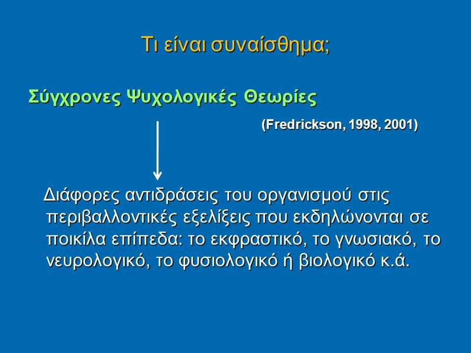 Τι είναι συναίσθημα; Σύγχρονες Ψυχολογικές Θεωρίες (Fredrickson, 1998, 2001) (Fredrickson, 1998, 2001) Διάφορες αντιδράσεις του οργανισμού στις περιβαλλοντικές εξελίξεις που εκδηλώνονται σε ποικίλα επίπεδα: το εκφραστικό, το γνωσιακό, το νευρολογικό, το φυσιολογικό ή βιολογικό κ.ά.