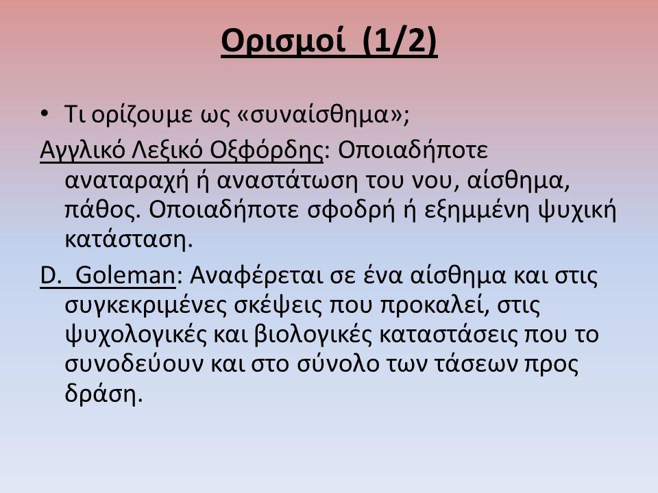 Ορισμοί (1/2) Τι ορίζουμε ως «συναίσθημα»; Αγγλικό Λεξικό Οξφόρδης: Οποιαδήποτε αναταραχή ή αναστάτωση του νου, αίσθημα, πάθος.