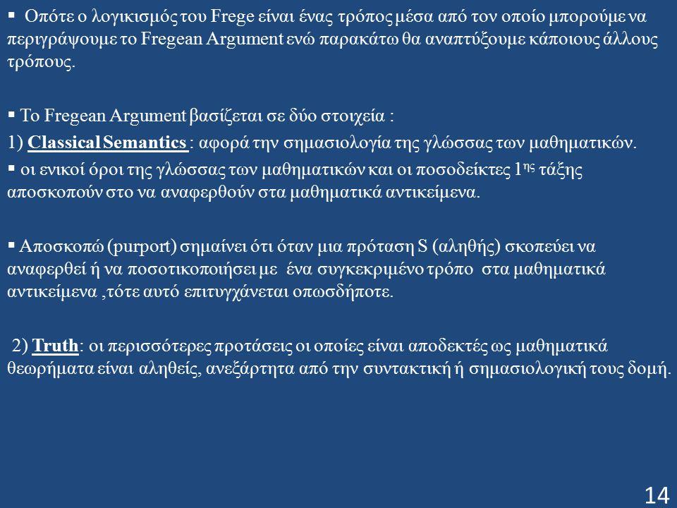  Οπότε ο λογικισμός του Frege είναι ένας τρόπος μέσα από τον οποίο μπορούμε να περιγράψουμε το Fregean Argument ενώ παρακάτω θα αναπτύξουμε κάποιους άλλους τρόπους.