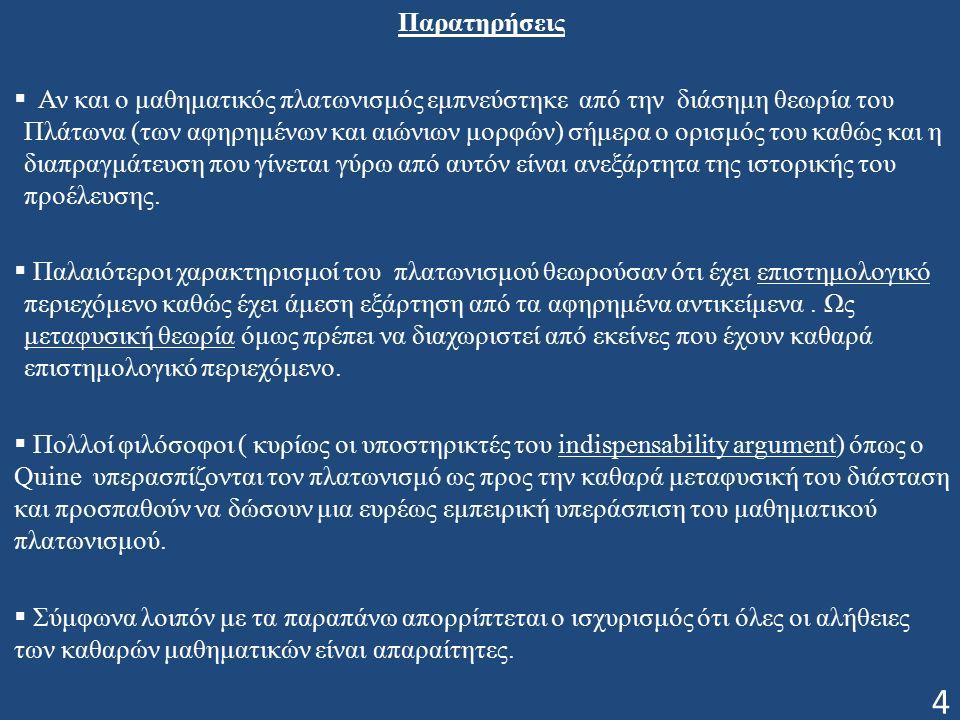 Παρατηρήσεις  Αν και ο μαθηματικός πλατωνισμός εμπνεύστηκε από την διάσημη θεωρία του Πλάτωνα (των αφηρημένων και αιώνιων μορφών) σήμερα ο ορισμός του καθώς και η διαπραγμάτευση που γίνεται γύρω από αυτόν είναι ανεξάρτητα της ιστορικής του προέλευσης.