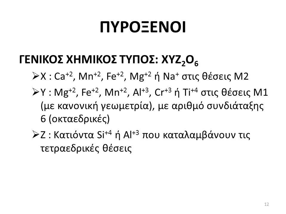 ΠΥΡΟΞΕΝΟΙ ΓΕΝΙΚΟΣ ΧΗΜΙΚΟΣ ΤΥΠΟΣ: ΧΥΖ 2 Ο 6  Χ : Ca +2, Mn +2, Fe +2, Mg +2 ή Na + στις θέσεις Μ2  Υ : Mg +2, Fe +2, Mn +2, Al +3, Cr +3 ή Ti +4 στις θέσεις Μ1 (με κανονική γεωμετρία), με αριθμό συνδιάταξης 6 (οκταεδρικές)  Ζ : Κατιόντα Si +4 ή Al +3 που καταλαμβάνουν τις τετραεδρικές θέσεις 12
