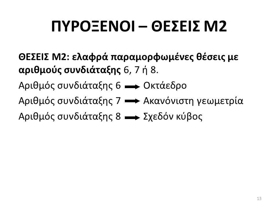 ΠΥΡΟΞΕΝΟΙ – ΘΕΣΕΙΣ Μ2 ΘΕΣΕΙΣ Μ2: ελαφρά παραμορφωμένες θέσεις με αριθμούς συνδιάταξης 6, 7 ή 8. Αριθμός συνδιάταξης 6 Οκτάεδρο Αριθμός συνδιάταξης 7 Α