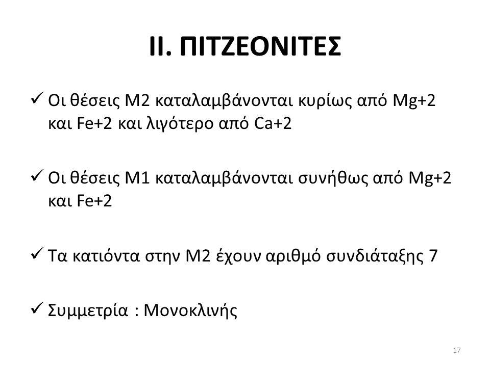ΙΙ. ΠΙΤΖΕΟΝΙΤΕΣ Οι θέσεις Μ2 καταλαμβάνονται κυρίως από Mg+2 και Fe+2 και λιγότερο από Ca+2 Οι θέσεις Μ1 καταλαμβάνονται συνήθως από Mg+2 και Fe+2 Τα