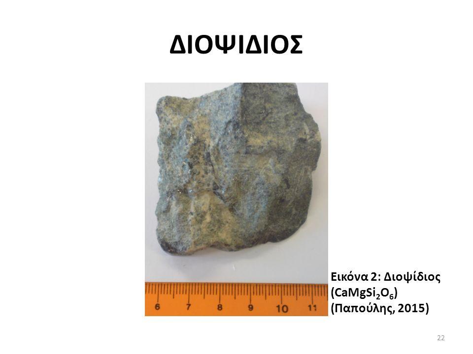 ΔΙΟΨΙΔΙΟΣ Εικόνα 2: Διοψίδιος (CaMgSi 2 O 6 ) (Παπούλης, 2015) 22