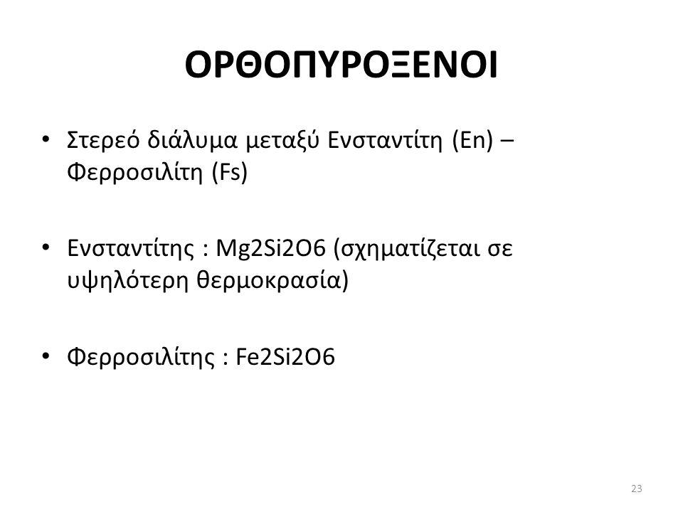 ΟΡΘΟΠΥΡΟΞΕΝΟΙ Στερεό διάλυμα μεταξύ Ενσταντίτη (En) – Φερροσιλίτη (Fs) Ενσταντίτης : Mg2Si2O6 (σχηματίζεται σε υψηλότερη θερμοκρασία) Φερροσιλίτης : F