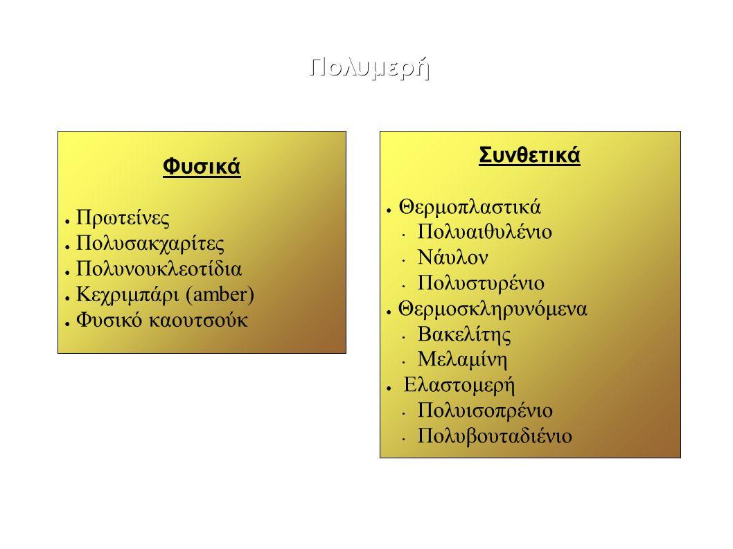 Πολυμερή Φυσικά ● Πρωτείνες ● Πολυσακχαρίτες ● Πολυνουκλεοτίδια ● Κεχριμπάρι (amber) ● Φυσικό καουτσούκ Συνθετικά ● Θερμοπλαστικά Πολυαιθυλένιο Νάυλον Πολυστυρένιo ● Θερμοσκληρυνόμενα Βακελίτης Μελαμίνη ● Ελαστομερή Πολυισοπρένιο Πολυβουταδιένιο