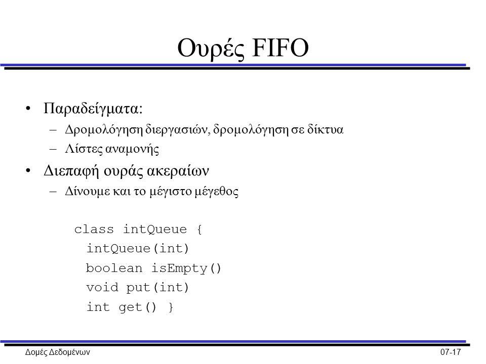 Δομές Δεδομένων07-17 Ουρές FIFO Παραδείγματα: –Δρομολόγηση διεργασιών, δρομολόγηση σε δίκτυα –Λίστες αναμονής Διεπαφή ουράς ακεραίων –Δίνουμε και το μέγιστο μέγεθος class intQueue { intQueue(int) boolean isEmpty() void put(int) int get() }