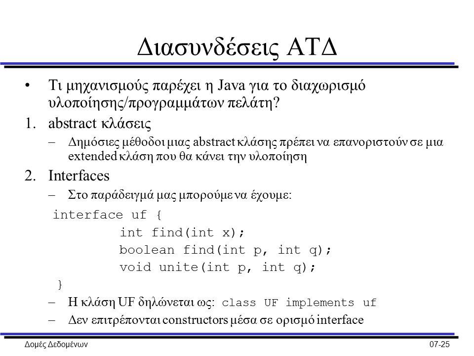 Δομές Δεδομένων07-25 Διασυνδέσεις ΑΤΔ Τι μηχανισμούς παρέχει η Java για το διαχωρισμό υλοποίησης/προγραμμάτων πελάτη.