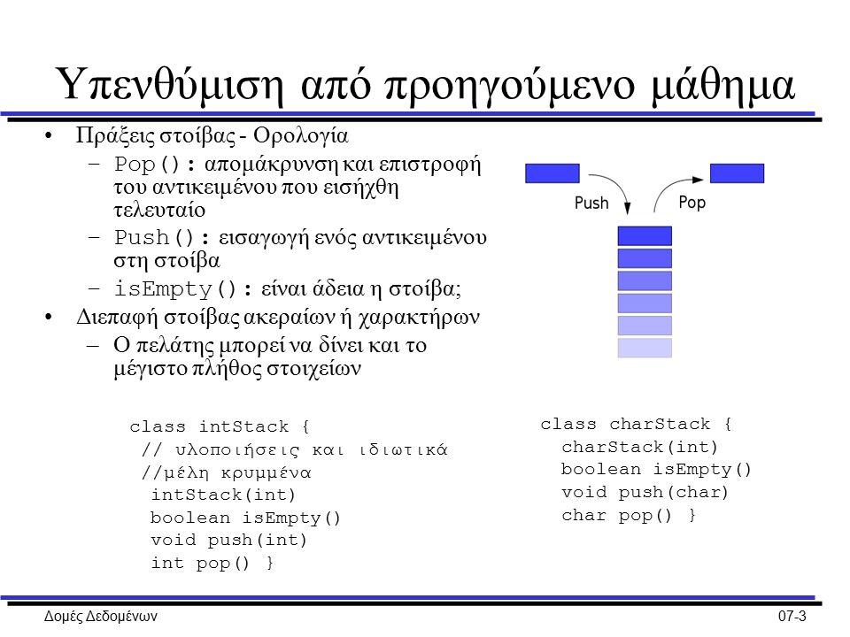 Δομές Δεδομένων07-3 Υπενθύμιση από προηγούμενο μάθημα Πράξεις στοίβας - Ορολογία –Pop(): απομάκρυνση και επιστροφή του αντικειμένου που εισήχθη τελευταίο –Push(): εισαγωγή ενός αντικειμένου στη στοίβα –isEmpty(): είναι άδεια η στοίβα; Διεπαφή στοίβας ακεραίων ή χαρακτήρων –Ο πελάτης μπορεί να δίνει και το μέγιστο πλήθος στοιχείων class intStack { // υλοποιήσεις και ιδιωτικά //μέλη κρυμμένα intStack(int) boolean isEmpty() void push(int) int pop() } class charStack { charStack(int) boolean isEmpty() void push(char) char pop() }