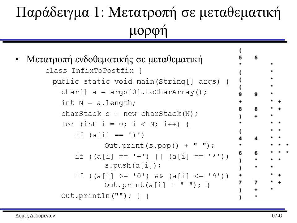 Δομές Δεδομένων07-6 Παράδειγμα 1: Μετατροπή σε μεταθεματική μορφή Μετατροπή ενδοθεματικής σε μεταθεματική class InfixToPostfix { public static void main(String[] args) { char[] a = args[0].toCharArray(); int N = a.length; charStack s = new charStack(N); for (int i = 0; i < N; i++) { if (a[i] == ) ) Out.print(s.pop() + ); if ((a[i] == + ) || (a[i] == * )) s.push(a[i]); if ((a[i] >= 0 ) && (a[i] <= 9 )) Out.print(a[i] + ); } Out.println( ); } }