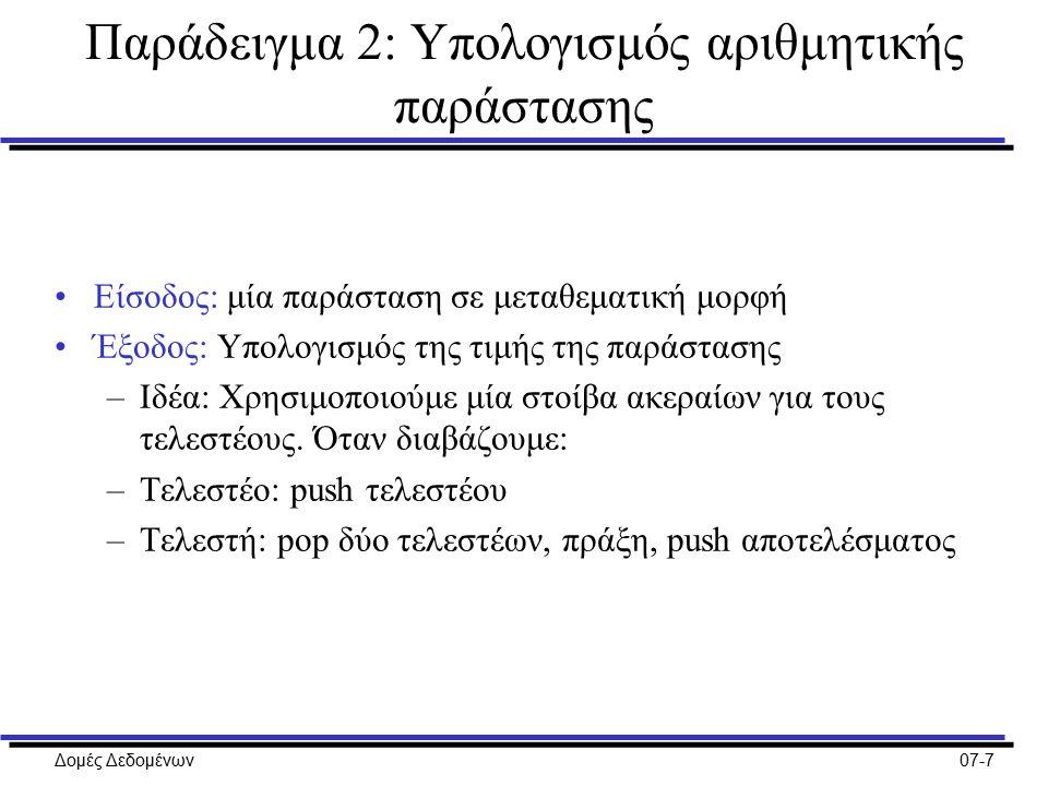 Δομές Δεδομένων07-7 Παράδειγμα 2: Υπολογισμός αριθμητικής παράστασης Είσοδος: μία παράσταση σε μεταθεματική μορφή Έξοδος: Υπολογισμός της τιμής της παράστασης –Ιδέα: Χρησιμοποιούμε μία στοίβα ακεραίων για τους τελεστέους.