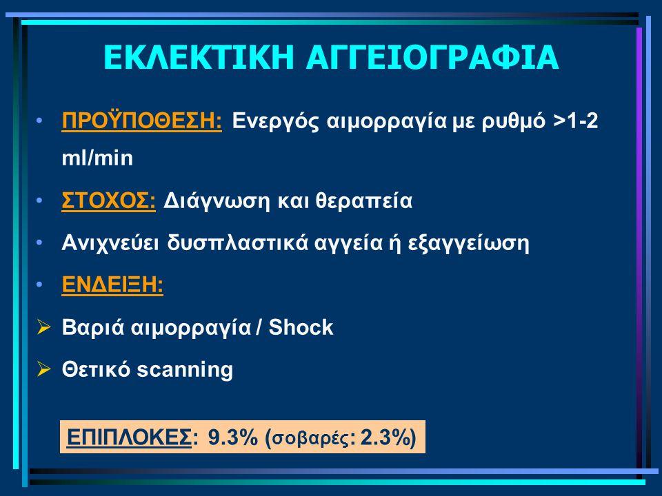 ΕΚΛΕΚΤΙΚΗ ΑΓΓΕΙΟΓΡΑΦΙΑ ΠΡΟΫΠΟΘΕΣΗ: Ενεργός αιμορραγία με ρυθμό >1-2 ml/min ΣΤΟΧΟΣ: Διάγνωση και θεραπεία Ανιχνεύει δυσπλαστικά αγγεία ή εξαγγείωση ΕΝΔ