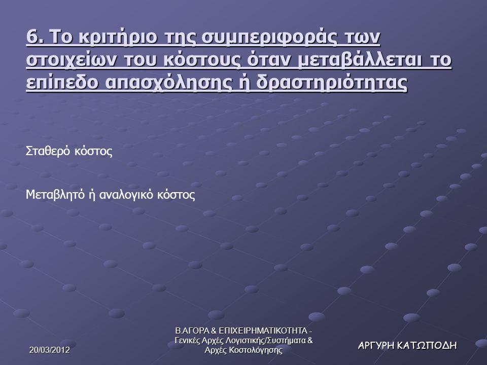 20/03/2012 Β.ΑΓΟΡΑ & ΕΠΙΧΕΙΡΗΜΑΤΙΚΟΤΗΤΑ - Γενικές Αρχές Λογιστικής/Συστήματα & Αρχές Κοστολόγησης ΑΡΓΥΡΗ ΚΑΤΩΠΟΔΗ 6.