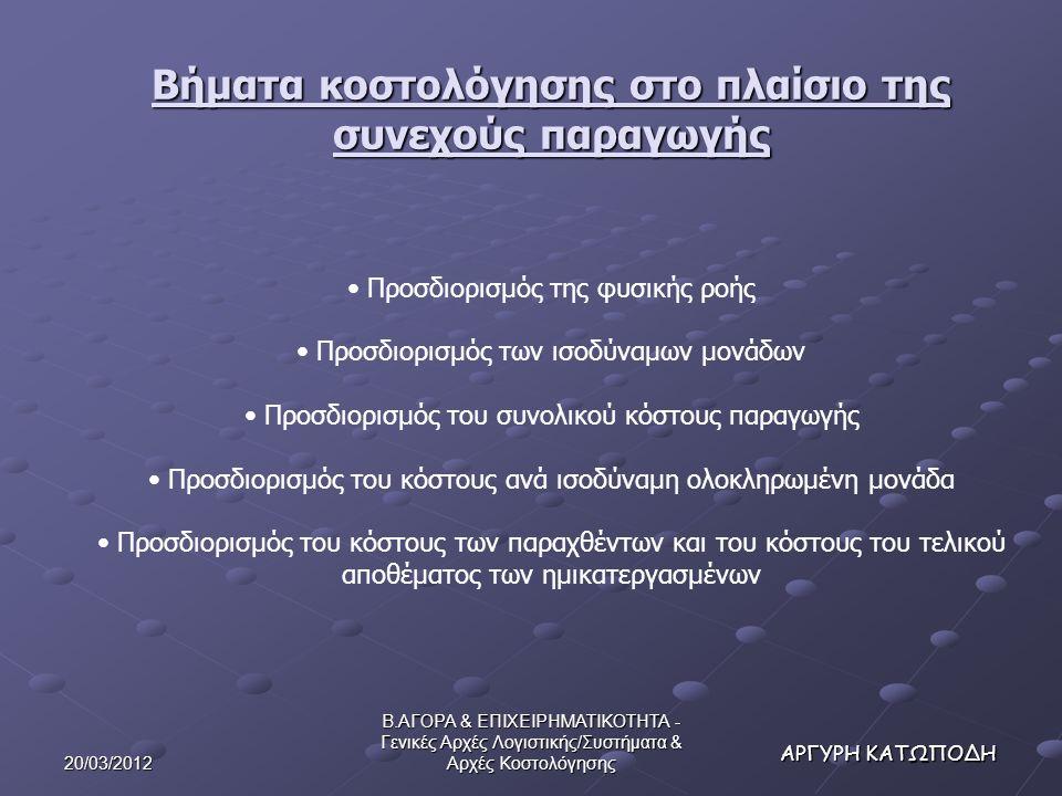 20/03/2012 Β.ΑΓΟΡΑ & ΕΠΙΧΕΙΡΗΜΑΤΙΚΟΤΗΤΑ - Γενικές Αρχές Λογιστικής/Συστήματα & Αρχές Κοστολόγησης ΑΡΓΥΡΗ ΚΑΤΩΠΟΔΗ Βήματα κοστολόγησης στο πλαίσιο της συνεχούς παραγωγής Προσδιορισμός της φυσικής ροής Προσδιορισμός των ισοδύναμων μονάδων Προσδιορισμός του συνολικού κόστους παραγωγής Προσδιορισμός του κόστους ανά ισοδύναμη ολοκληρωμένη μονάδα Προσδιορισμός του κόστους των παραχθέντων και του κόστους του τελικού αποθέματος των ημικατεργασμένων