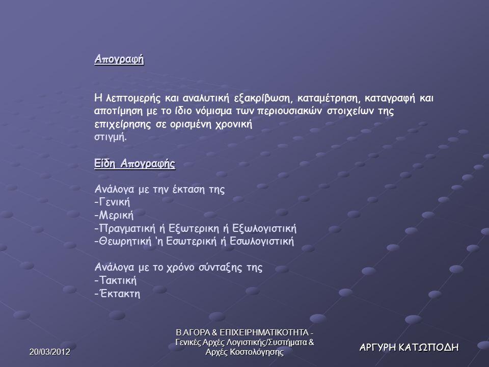 20/03/2012 Β.ΑΓΟΡΑ & ΕΠΙΧΕΙΡΗΜΑΤΙΚΟΤΗΤΑ - Γενικές Αρχές Λογιστικής/Συστήματα & Αρχές Κοστολόγησης 2.Το Κριτήριο του Προορισμού 2.Το Κριτήριο του Προορισμού Κόστος κατά λειτουργία Κόστος κατά πεδίο ευθύνης Κόστος κατά προϊόν, υπηρεσία κ.λ.π.